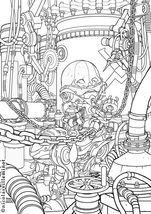 Line Art Robot : Best steampunk coloring art print pages colouring for