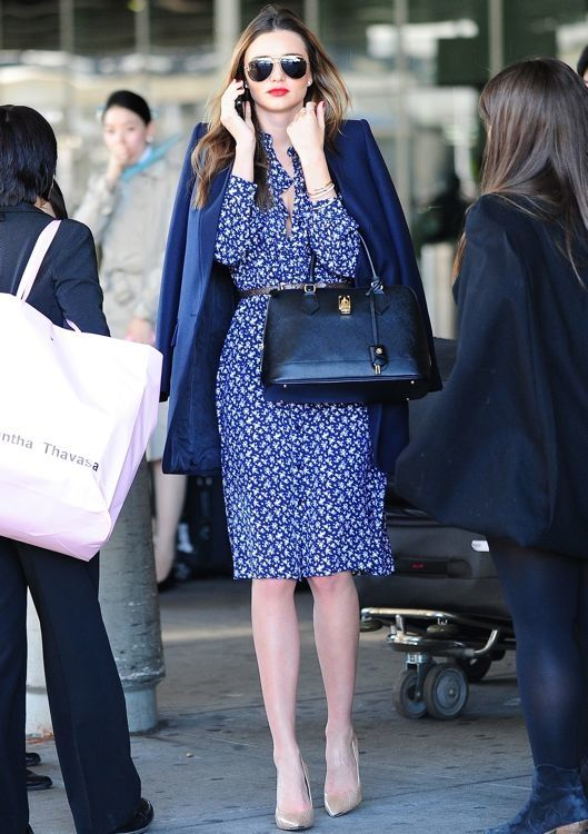 Street Style inspired by  Miranda Kerr /////  a Michael Kors Spring 2014 blue floral dress accented by a brown belt, a navy blazer, a Samantha Thavasa black bag and nude pumps.