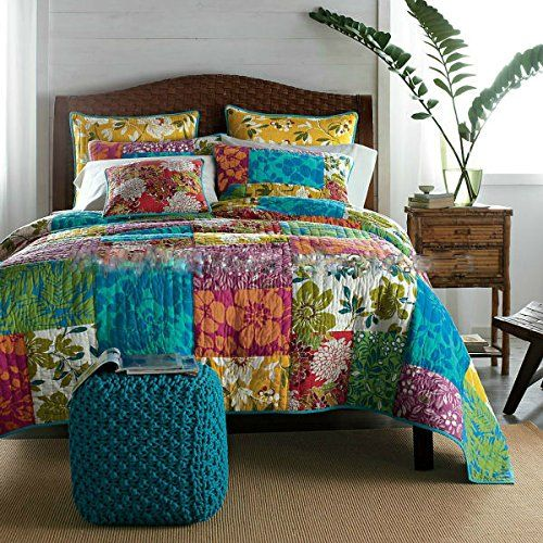 Get this Colorful Flower Power Party Patchwork Tropical Quilt Set, featuring Beautiful Patchwork Designs that are both Floral and Colorful.  You can use as a fun quilt.