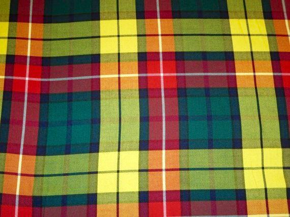Modern Tartan Buchanan Fabric By YardYellow Red by SOHOSKIRTS