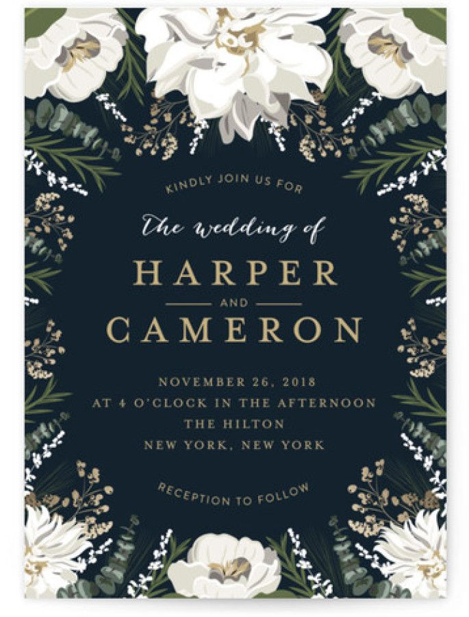wedding card invite wordings%0A Botanical borders for elegant black wedding invites