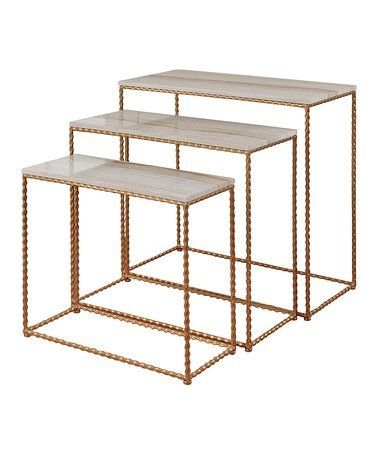 Another great find on #zulily! Gold Three-Piece Petite Console Table Set #zulilyfinds