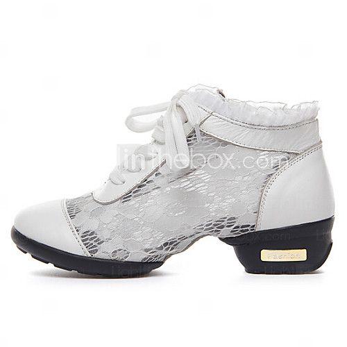 Chaussures de danse(Noir Blanc) -Non Personnalisables-Talon Bas-Cuir Dentelle-Baskets de Danse Salon - EUR €28.29