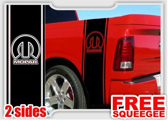 2 Dodge Ram Truck Mopar Logo Syle 2 Bedside Vinyl Decal