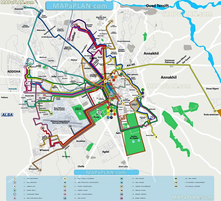 local bus routes lines stops public transport alsa network system menara airport railway Marrakech top tourist attractions map