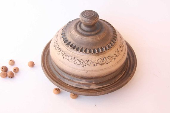 Rustic Butter dish. Ceramic butter Dish. Butter holder. Hand made dish. Unglazed plate. Art pottery bowl.