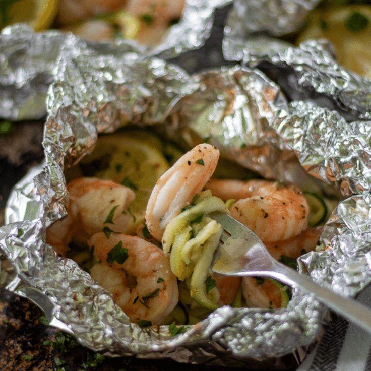 Healthy Shrimp Scampi Foil Packets | Keto – This Mom's Menu