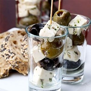 shot glass olive & feta appetisers, and do some with blue cheese and grapes.  That way you are serving two different ones for variety.