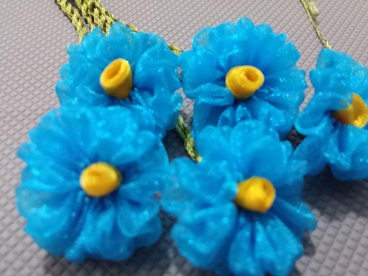 kurdele oyaları mavi gül çiçeği yapımı
