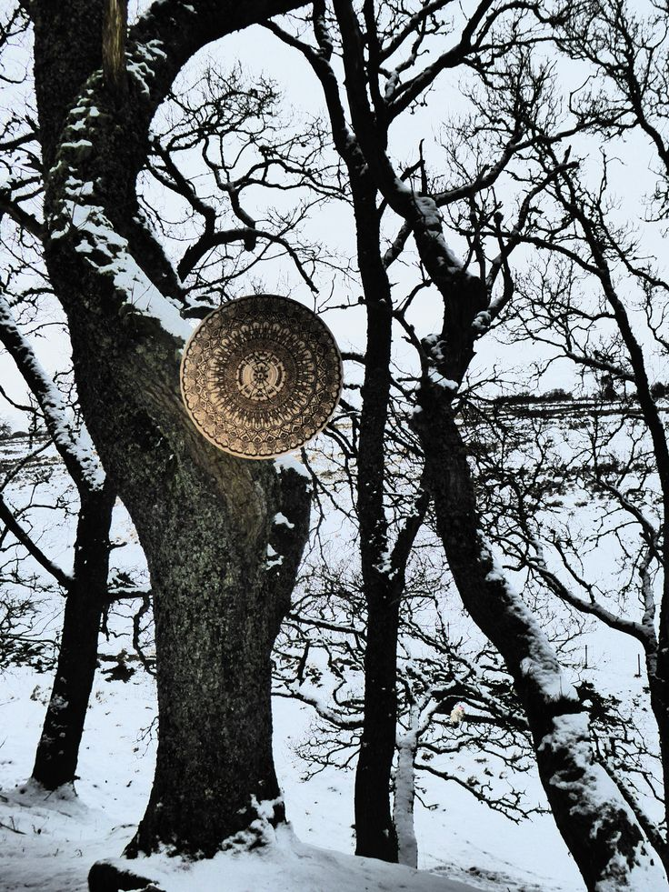 'Ogham Shield'.. Ikea wooden bowl upcycled via pyrography