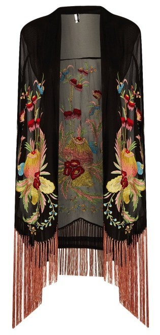 Black background with bright jewel tone Floral embroidered kimono