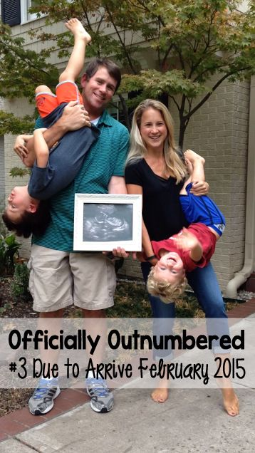 Pregnancy announcement for third child.