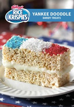 Celebrate the Fourth of July with a treat the whole family is going to love! These crispy red, white, and blue Rice Krispies Treat® sandwiches are the perfect snack to munch on while you're watching fireworks.