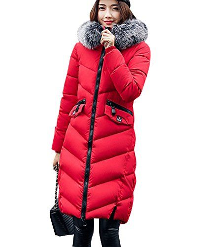 fd461d70851665 Winter Langer Mantel Parka Jacke Ultra Dicke Steppmantel Gefüttert Mit  Kapuze Warmer Wintermantel Rot L