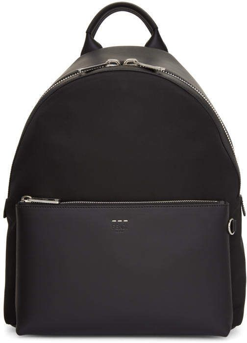 eb7188abac82 Fendi Black Tapestry Strap Backpack