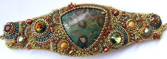 10% OFF Bead Embroidered Bracelet Bead Embroidery Bracelet Swarovski Crystals Gold Beaded Jewelry OOAK Bracelet Valentine's Day Spring
