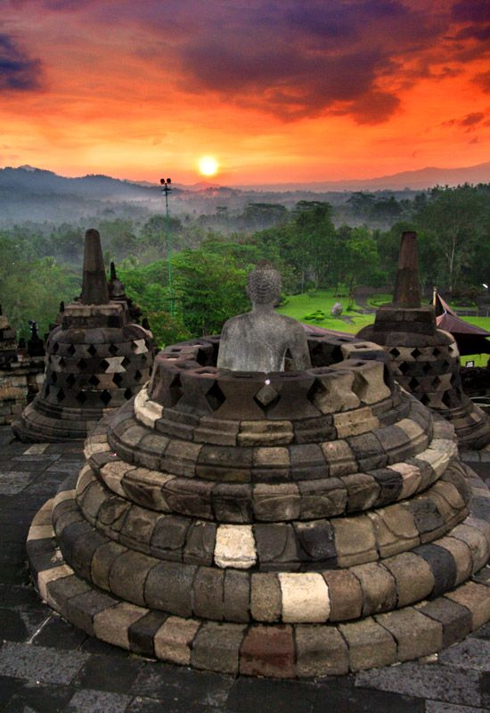 Buddha Staring At The Sun - Borobudur is one of the Greatest Monuments of the World - Central Java, Indonesia