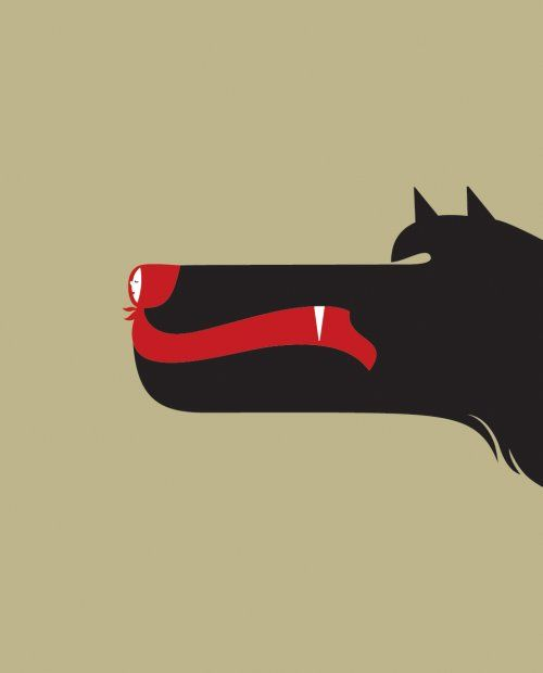 Noma Bar, Little Red Riding Hood: So clever, its like typography for illustration
