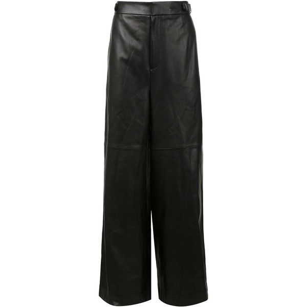 Juun.J wide leg leather trousers ($2,190) ❤ liked on Polyvore featuring men's fashion, men's clothing, men's pants, men's casual pants, black, mens leather pants and mens wide leg pants