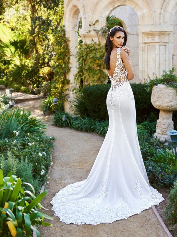 df1a00e10fe01 Fit and Flare Nude Wedding Dress J6574A from Moonlight Collection in ...