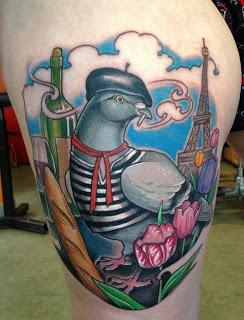 shawn hebrank . minnesota tattoo artist; a very French pigeon