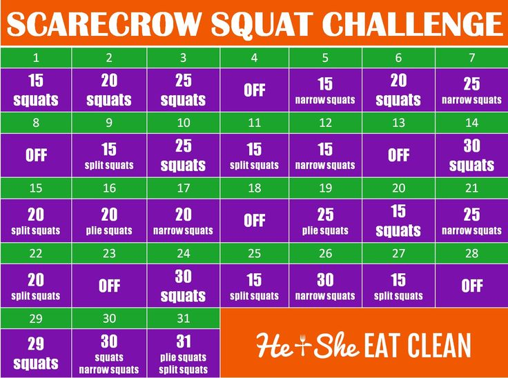 31-Day Scarecrow Squat Challenge   He and She Eat Clean