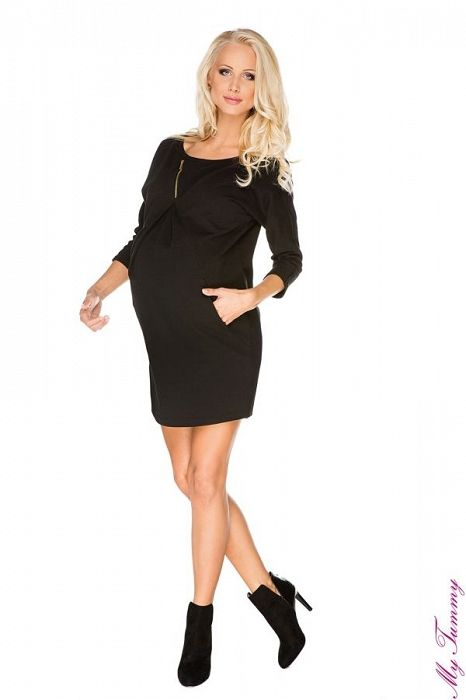 """Těhotenské šaty """"Pavla"""" černé - My Tummy - Luxusní, elegantní a praktické oblečení pro těhotné a kojící ženy"""