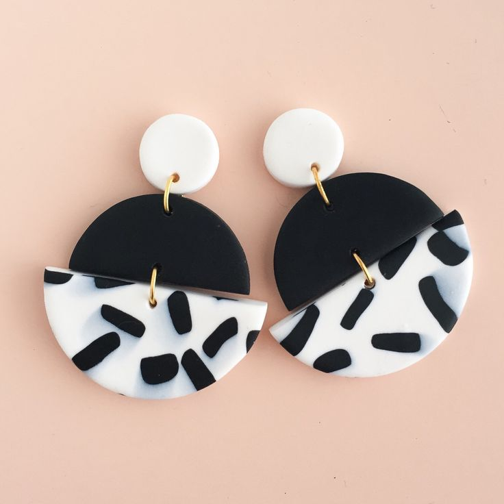 Polymer Clay Statement Earrings in a black and white colour palette. by colourwork on Etsy https://www.etsy.com/au/listing/482278173/polymer-clay-statement-earrings-in-a