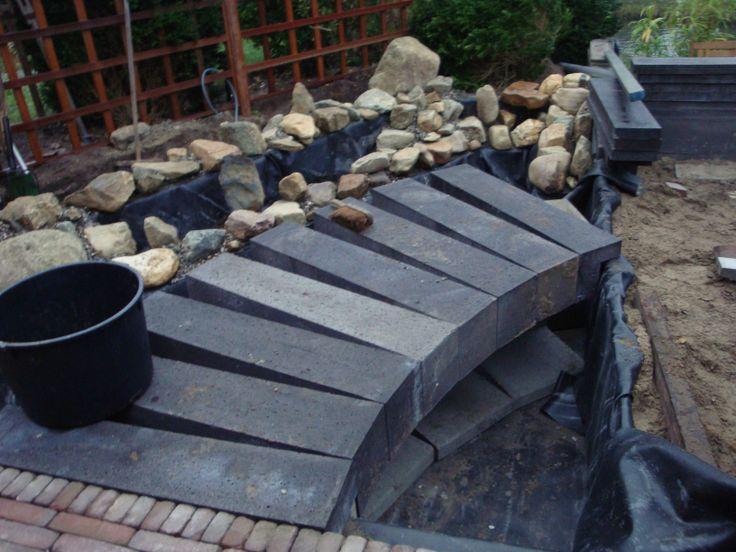 Er komt een pad door de vijver heen, dat eindigt in een trap naar het lager gelegen terras.