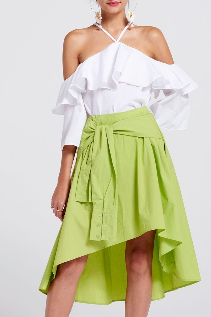 Sora Vivid Tie Waist Skirt Discover the latest fashion trends online at storets.com #skirts #waistskirts #tieskirts #fashion #ootd #storetsonme