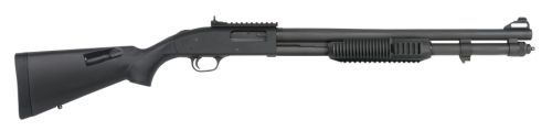 "Mossberg 590A1 12g 20"" 9SH CB PRK - Mil-spec construction. Parkerized finish of heavy-walled barrel with cylinder bore. Metal trigger guard and safety buttons. XS Ghost Ring/AR-Style sights. Black synthetic speed-feed stock which holds additional 4 rounds, and tri-rail forend. 20"" barrel, 8 round magazine capacity, rail on the receiver, and bayonet lug."