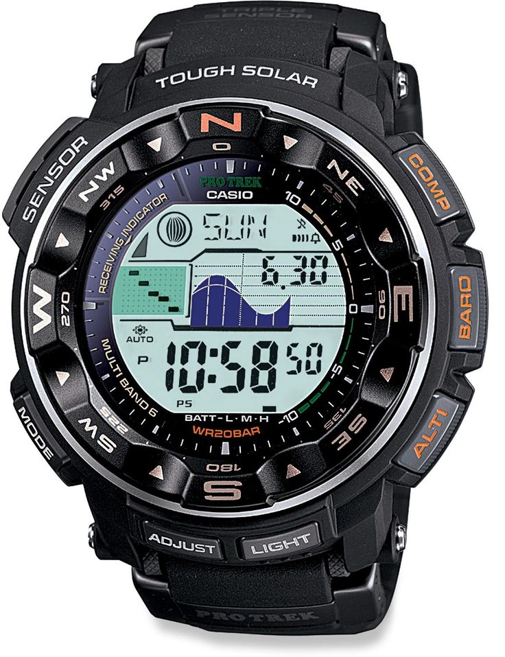Compass, bar., alt., tide chart, dive ready, solar charged & more—Casio ProTrek PRW2500-1 Multifunction Watch.
