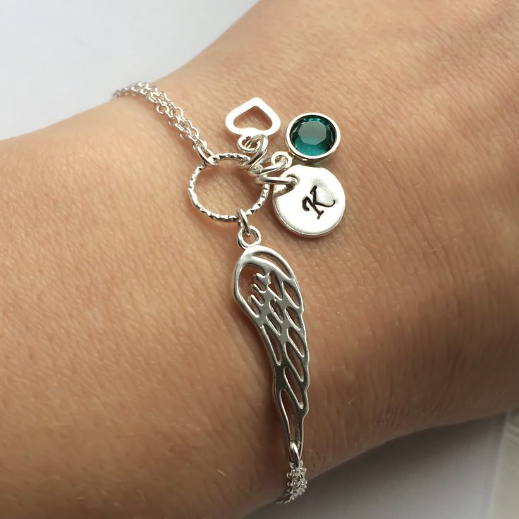 Personalized Angel Wing Bracelet in Sterling Silver - Sympathy gift, Memorial gift