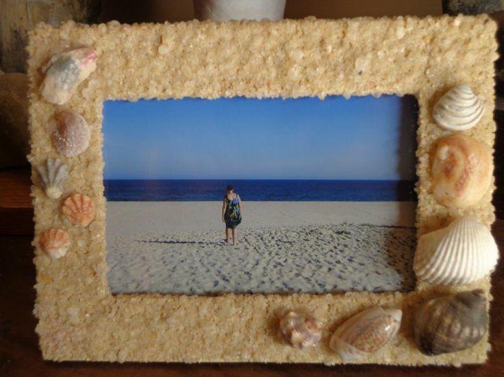 porta retrato decorado com areia e conchas