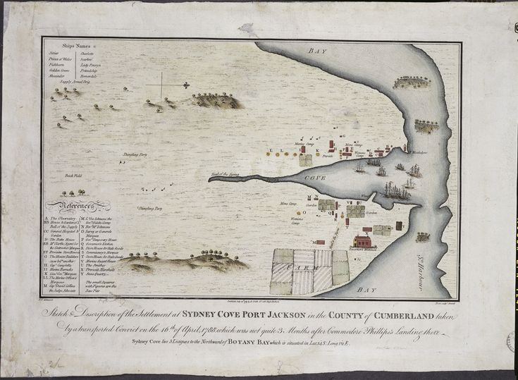Francis Fowkes, Sketch & description of the settlement at Sydney Cove Port Jackson in the County of Cumberland taken by a transported convict on the 16th of April, 1788, which was not quite 3 months after Commodore Phillips's landing there. 1788. One of the first maps of the new colony. Mitchell Library, State Library of New South Wales: http://library.sl.nsw.gov.au/record=b2063480