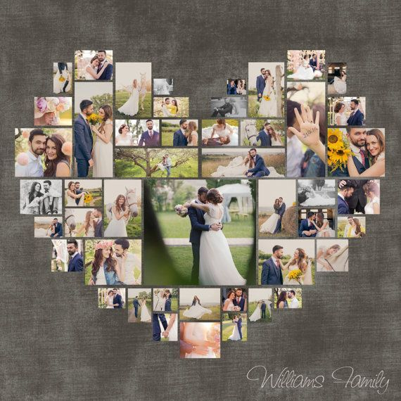 Heart Photo Collage Template PSD. Wedding gift. Anniversary gift. Valentine's day Gift. Gift for her. Size 40″x40″/ 20″x20″/ 10″x10″