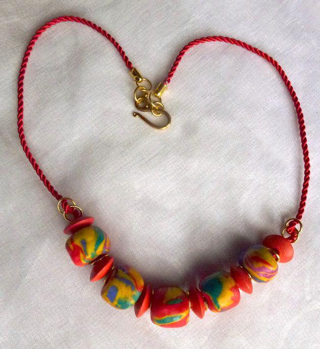Polymer-Clay-Halsband rot/bunt KCA37 aus dem Dawanda-Shop Chris-June