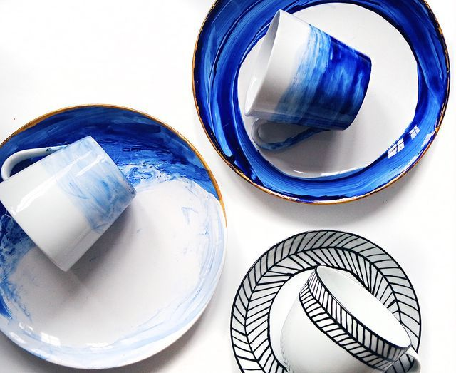 DIY: color Painted dishes