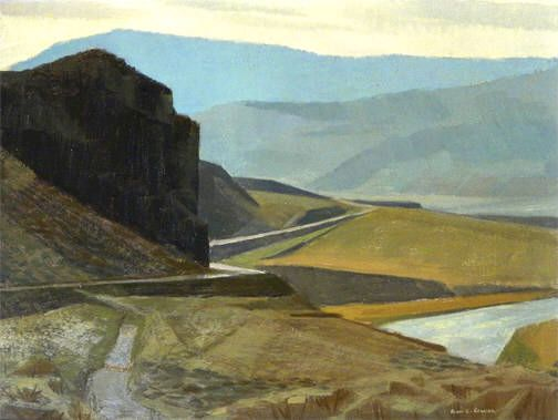 Artist: Alan Collier, Title: THE TRANS-CANADA HWY., PASSING WALHACHIN, B.C. - 12 x 16 oil on board (1973)