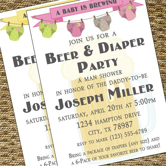 Beer and Diaper Party Invitation A Man by HeartfeltInvitations