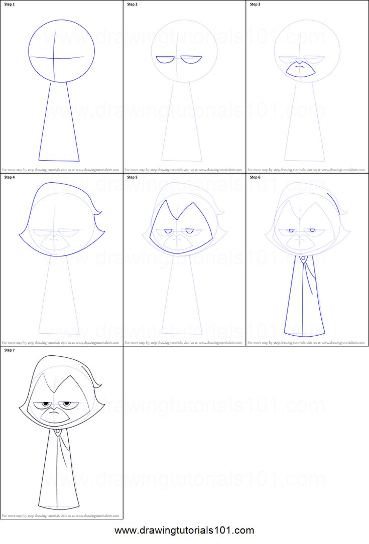 How to Draw Raven from Teen Titans Go printable step by step drawing sheet : DrawingTutorials101.com