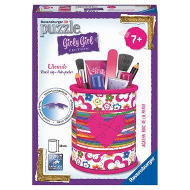 Ravensburger Girly Girl 3D-puzzel pennenbak Agatha Ruiz de la Prada - 54 stukjes  Gewoon uniek! Met 54 kunststof puzzelstukjes maak je een stevig en superpraktisch opbergsysteem dat iedere meisjeskamer een coole look geeft.  EUR 9.34  Meer informatie