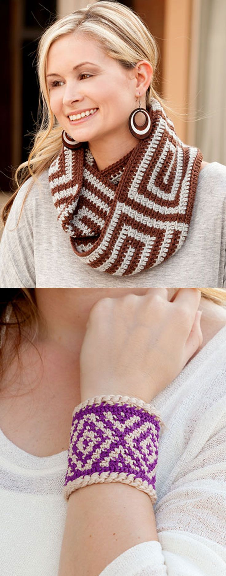 Spiraling cowl and diamond bracelet, in Learn to Tapestry Crochet book, that includes basic steps on how to carry and wrap yarn, change colors, step-by-step photos, written instructions and charts. A great learn-to book! Also included are 6 projects perfect for a beginner.