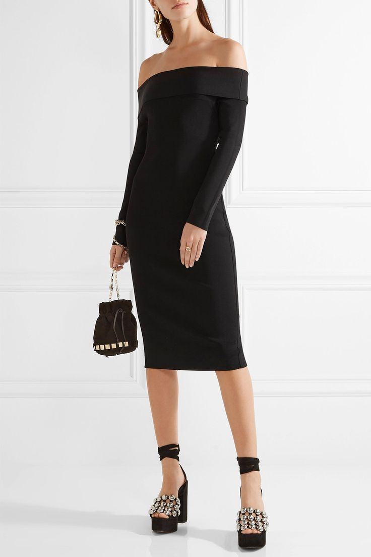 T by Alexander Wang | Robe épaules nues en mailles point de Rome stretch | NET-A-PORTER.COM