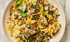 Yotam Ottolenghi's courgette pappardelle with feta and lemon. For low carb just forget the pasta! Easy!