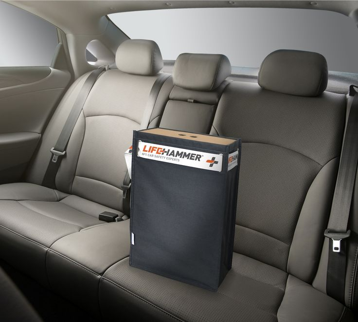 Driving home with your new car. On the backseat a beautiful Safety Bag with inside a range of high quality safety accesories. A gift for life. #lifehammer