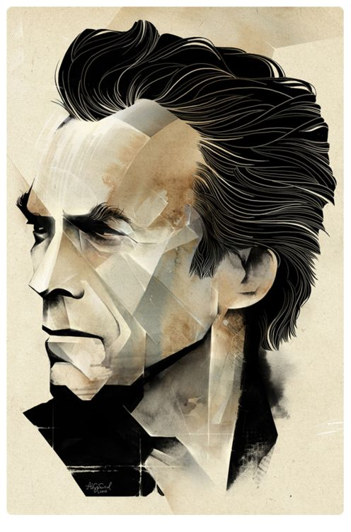 : Alexey Kurbatov, Inspiration, Illustrations, Art, Portraits, Clinteastwood, Alexeykurbatov, Design, Clint Eastwood
