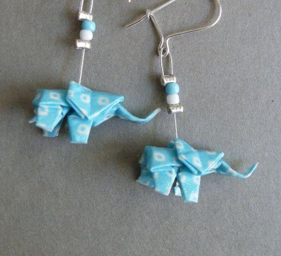 Light Blue and White Elephant Origami Earrings