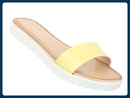 Damen Sandalen Schuhe Strandschuhe Sommerschuhe Pantoletten Gelb 40 - Sandalen für frauen (*Partner-Link)