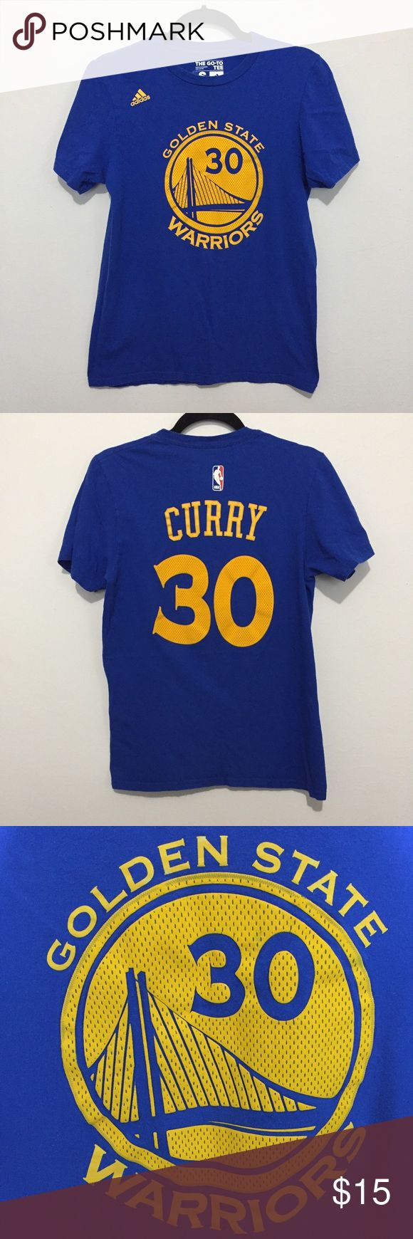 Adidas Go To Tee Golden State Warriors Curry Do you love you some Curry? Then this is the shirt for you! Perfect for home and away games rooting for your team! Great condition, there is some slight wear to the appliques, as pictured. Pit to pit: 18.5 in Length, shoulder to hem: 25.5 in Adidas Tops Tees - Short Sleeve